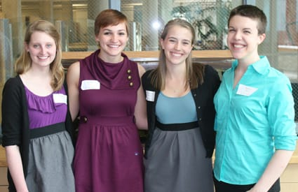 St. Olaf seniors (from left) Michelle Frank, Kelsey Klein, Hannah Erickson, and Eileen King organized the linguistics symposium.