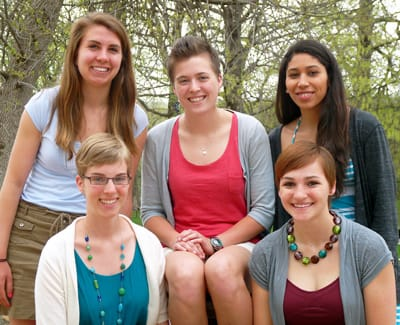 St. Olaf seniors (standing, from left) Lauren Carlson, Brynn Rathjen, Kristell Caballero-Saucedo, (seated, from left) Martha Nielsen, and Kelsey Klein have been named Fulbright fellows for 2013-14. April Curtis '12 (not pictured) was also accepted into the prestigious program.
