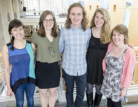 St. Olaf seniors (from left) Ida Sobotik '15, Sarah Beam '15, Nels Thompson '15, Serina Robinson '15, and Julia Irons '15 have been named Fulbright Fellows for 2015-16. Beret Amundson '15, William Wertjes '15, and Clarissa Angeroth Franks '14 (not pictured) were also accepted into the prestigious program.
