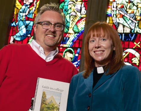 "St. Olaf College Pastor Matthew Marohl and Associate College Pastor Katie Fick with ""Faith in College"" — the newest edition of the devotion book they write each year."