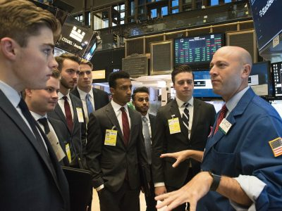 Students visit the New York Stock Exchange.