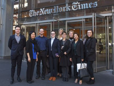 Students outside the offices of The New York Times