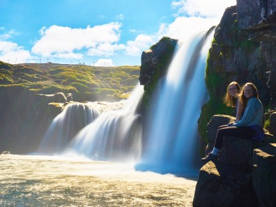Samantha Roback '19 and Kelsey Halverson '20 at Kirkjufell Waterfall in Iceland