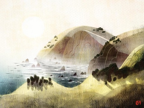 Painting of hills and mountains overlooking a body of water.