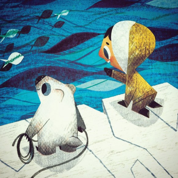 Painting of a child and polar bear looking at fish in the sea.