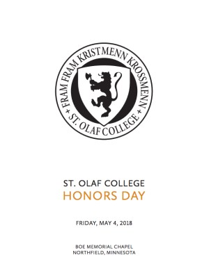 2018 St. Olaf College Honors Day Program