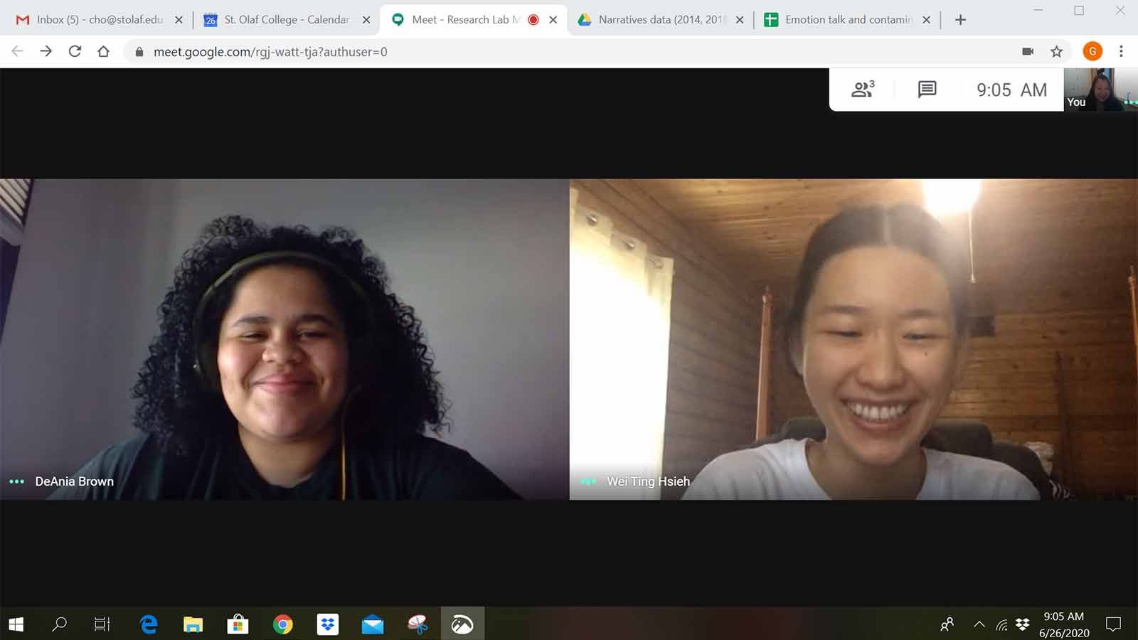 "DeA Brown '21 and Wei Ting Hsieh '22 meet virtually with Associate Professor of Psychology and Department Chair Grace Cho as they work together on a CURI project on ""Variations in Life Narratives and Emotional Well-Being Among Young Adults."""