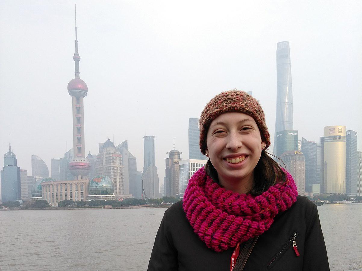 Virginia Culhane '21 in Shanghai, China, during Asian Interim. Karen Clark's planned gift helps Ole women like Virginia explore the world each year.