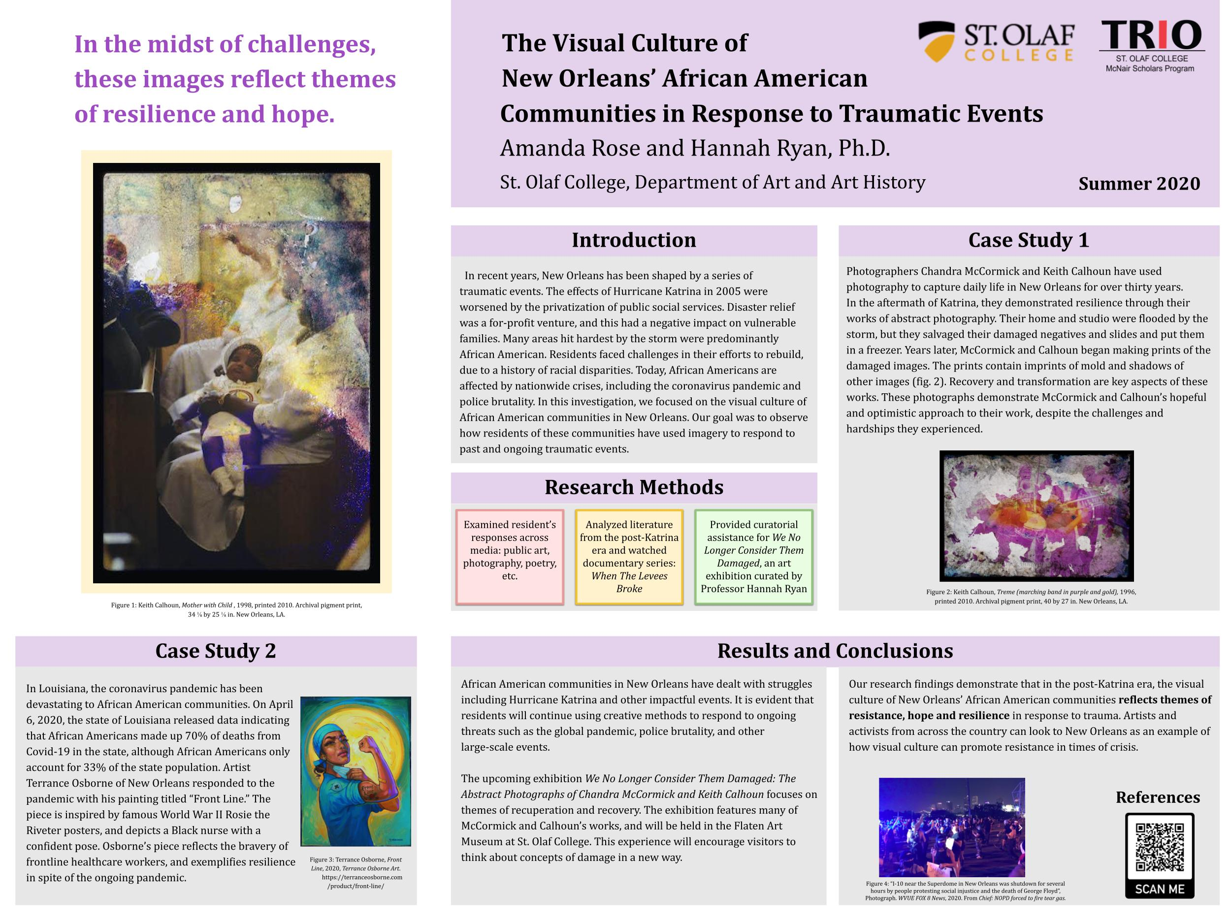 """Graphic of Amanda Rose's research poster on """"The Visual Culture of New Orleans' African American Communities in Response to Traumatic Events."""""""