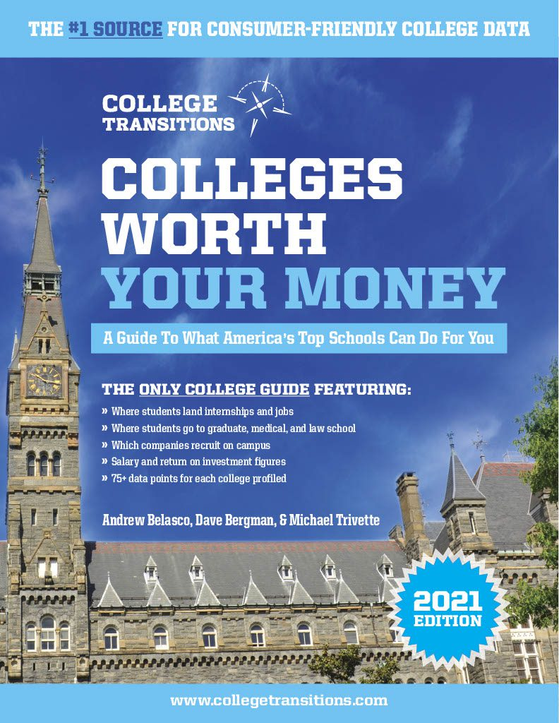 Flier graphic for Colleges Worht Your Money, with a college building in the foreground and blue sky in the background.