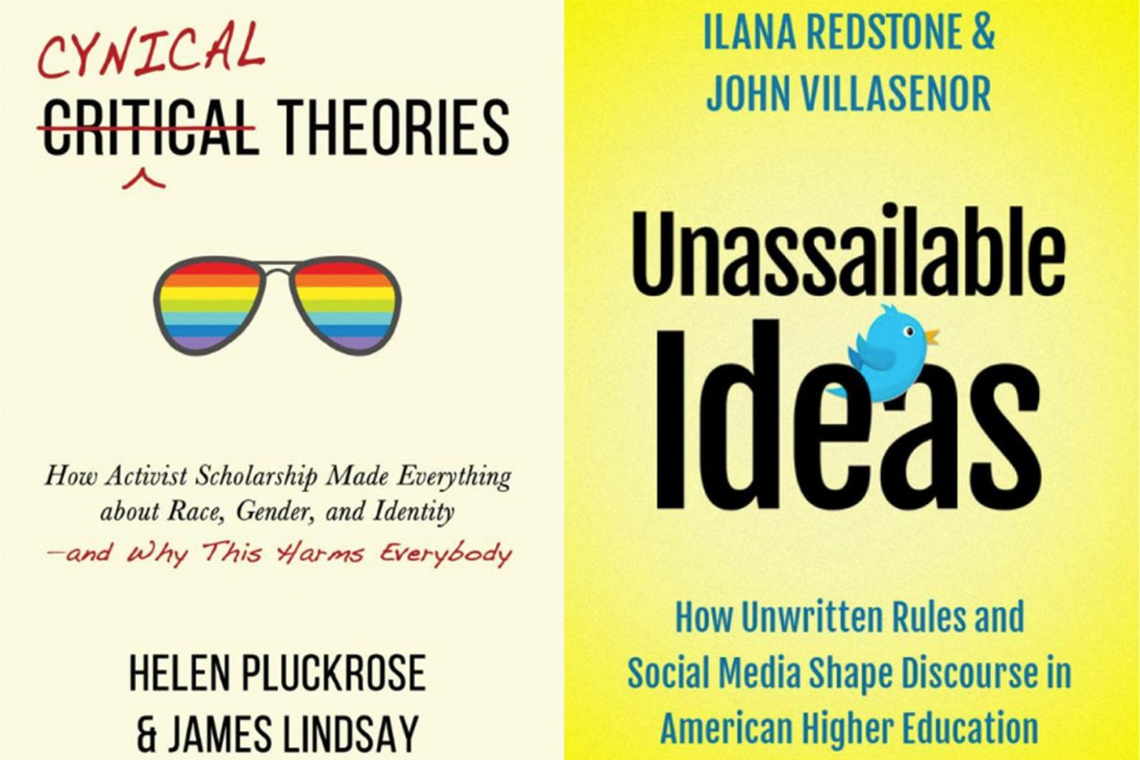 """""""Cynical Theories,"""" by Helen Pluckrose and James Lindsay (left), and """"Unassailable Ideas,"""" by Ilana Redstone and John Villasenor (right)"""