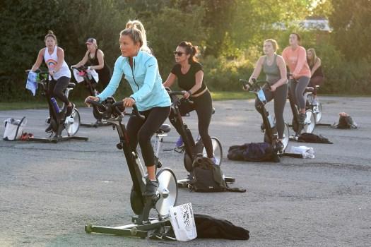 outdoor socially distant spin class