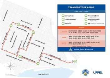 Mapa do Transporte de Apoio (Linha Porto - Centro)