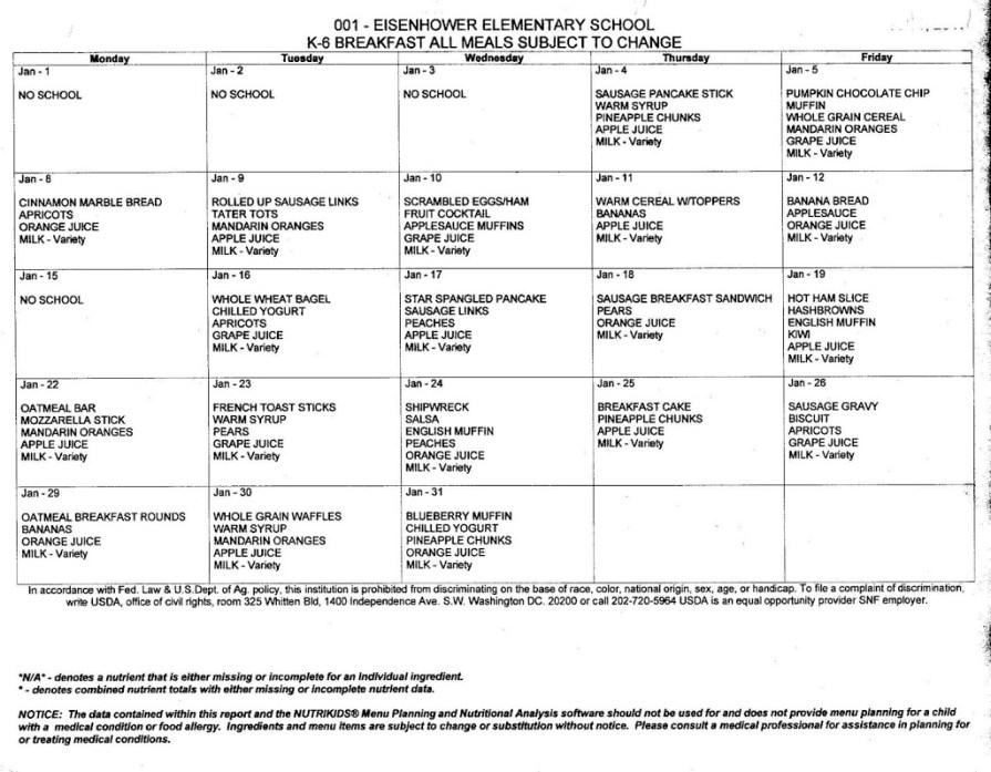 January Breakfast/Lunch Menus – NORTON COMMUNITY SCHOOLS