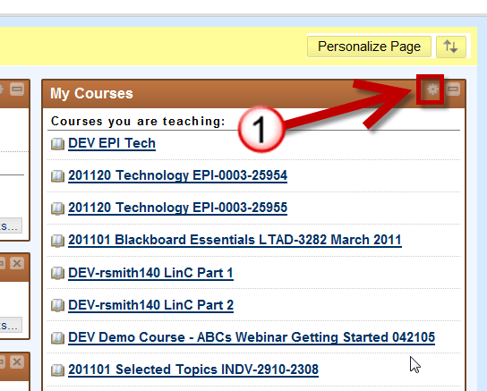 Select the sprocket from the My Courses Module in Blackboard