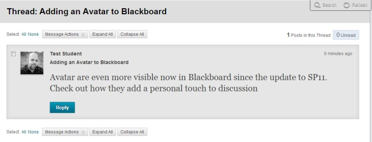 Adding an Avatar to Blackboard
