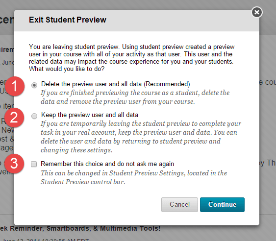 Student Preview in Blackboard Exit Options