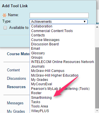 Smarthinking Add Tool to Course Menu