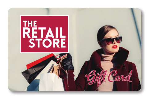 Retail gift card for The Retail Store with woman in sunglasses carrying shopping bags
