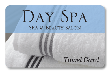 towel card for spa and salon