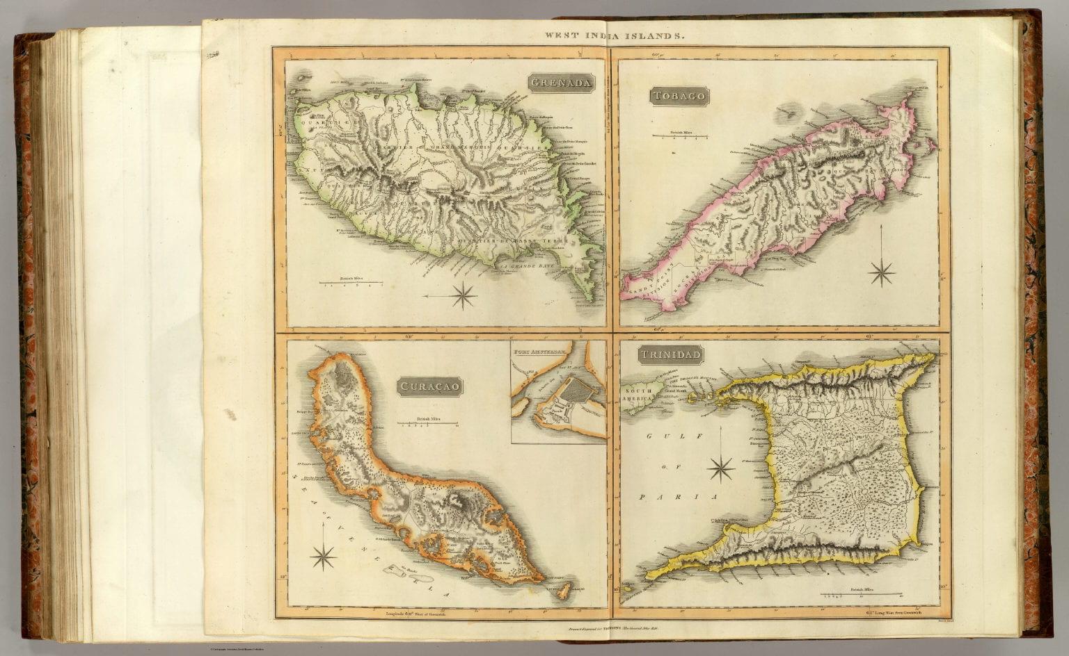 Vintage map of 1816 Trenada, Tobago, Trinidad, Curacao. Publisher Baldwin, Cradock, and Joy