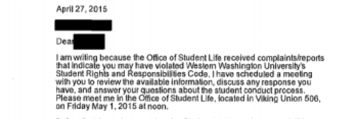 An email sent by assistant dean of students Michael Sledge informing Peter Lagow that they had received a complaint about him.
