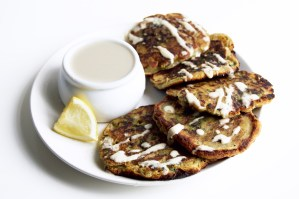Spinach Pancakes with Tahini Lemon Drizzle