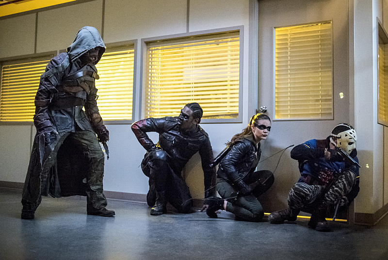 "Arrow -- ""Penance"" -- Image AR504a_0412b.jpg -- Pictured (L-R): Joe Dinicol as Ragman, Echo Kellum as Curtis Holt, Madison McLaughlin as Evelyn Sharp and Rick Gonzales as Rene Ramirez/Wild Dog -- Photo: Dean Buscher/The CW -- © 2016 The CW Network, LLC. All Rights Reserved."