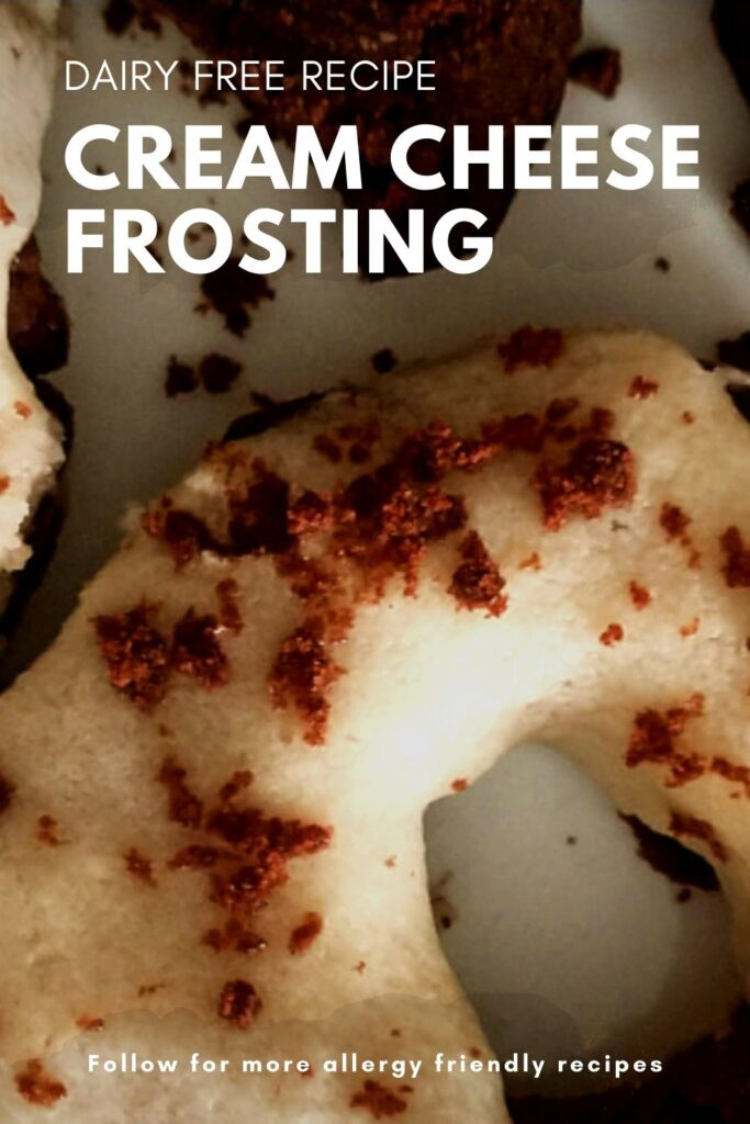 pinning image for allergy friendly cream cheese frosting