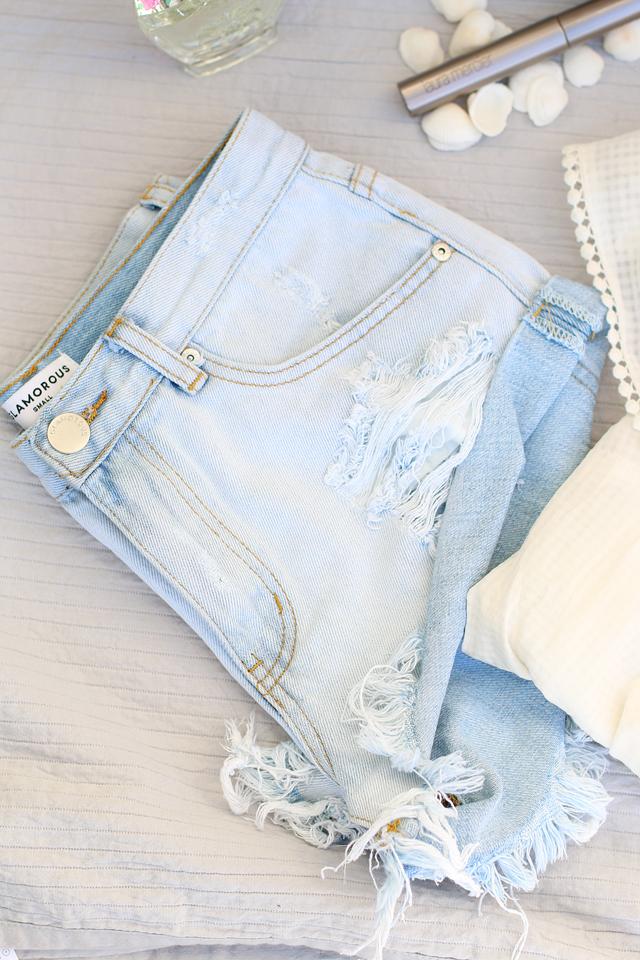 Hellblaue Jeansshorts, Jeansshorts von Glamorous