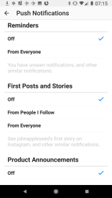 Reminders of notification, People post for the first time, Instagram Product announcements