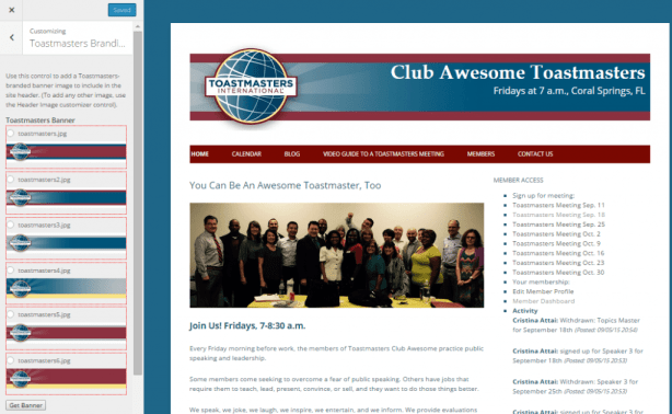 Lectern theme's utility for adding Toastmasters-branded banners.