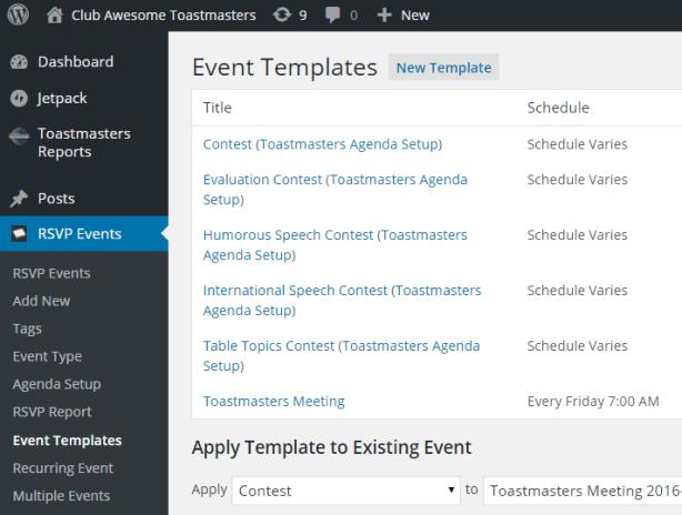 Event Templates listing