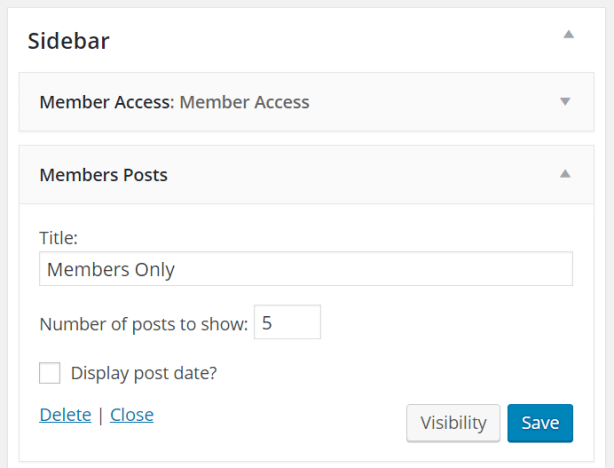 Configuring the Members Only widget.