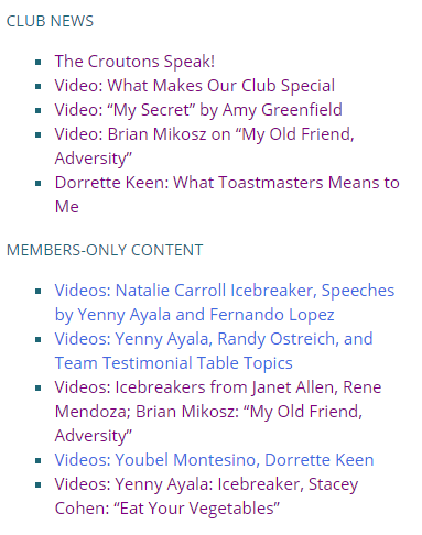 Sidebar headlines for Club News, versus Members Only