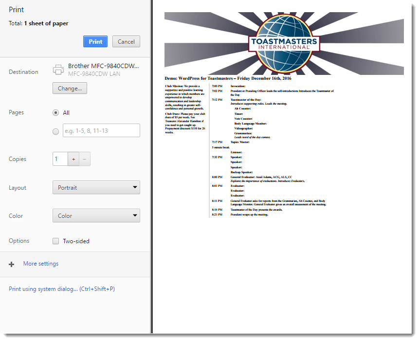 Customizable Agenda Result