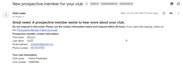 "The ""prospective new member"" email from toastmasters.org"