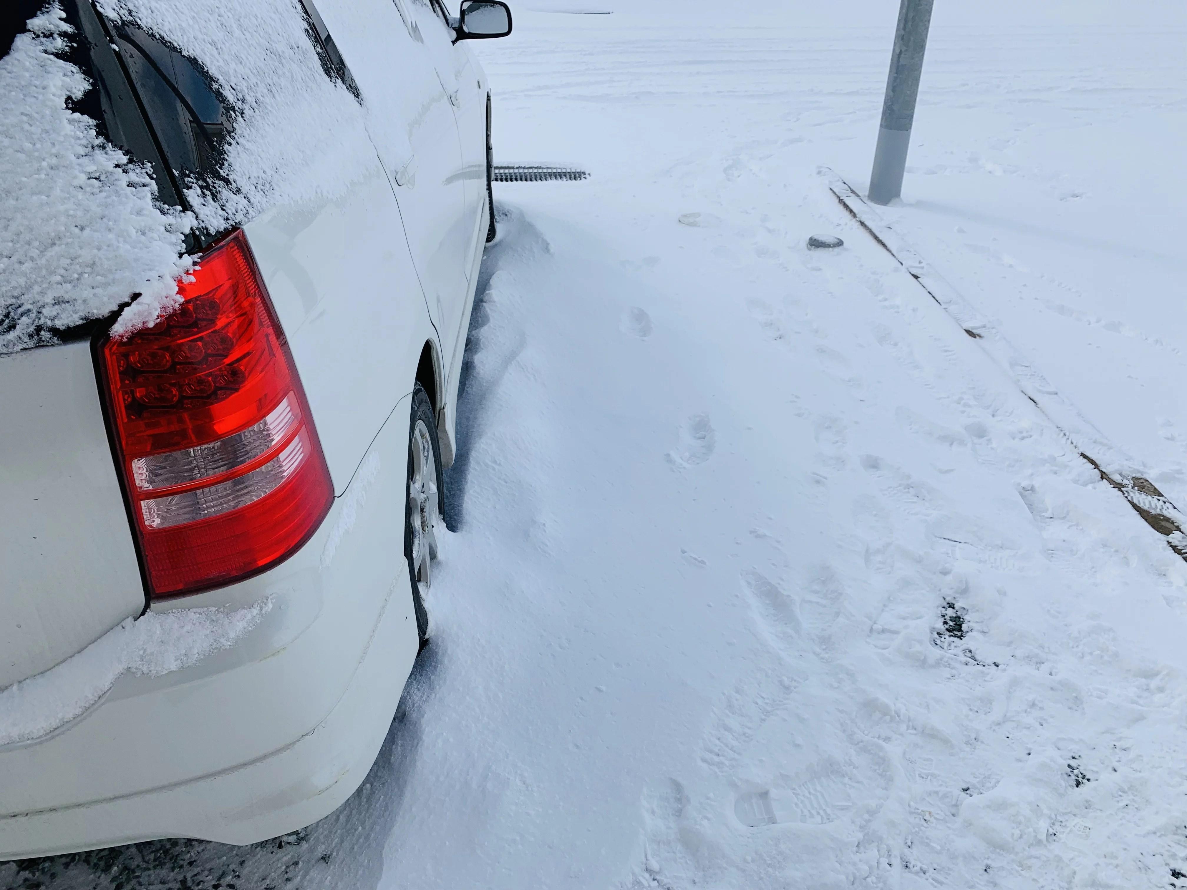 車と地面に降り積もった雪