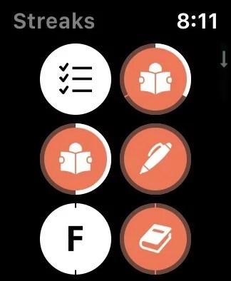 Apple WatchのStreaks画面