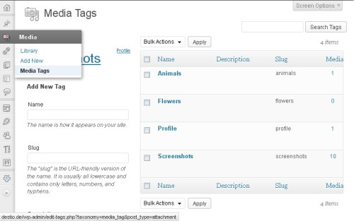WordPress Media Tags