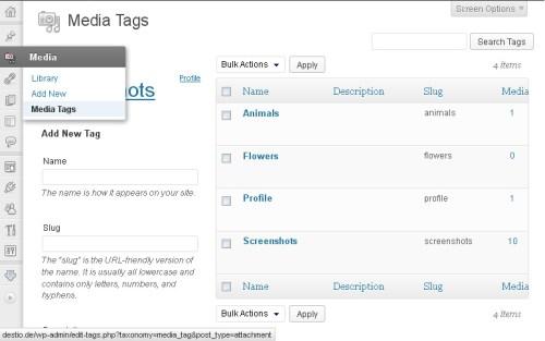WordPress Media Tags