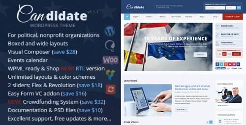 Candidate - Political, Nonprofit WordPress Theme