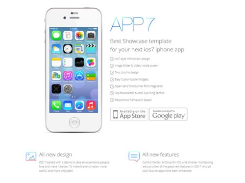 iOS7 App Responsive Landing page