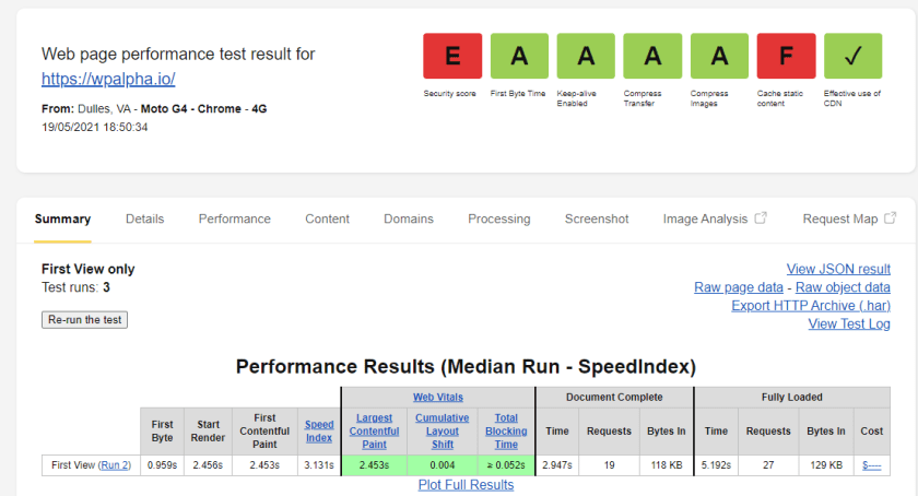 FireShot Capture 257 WebPageTest Test Result Dulles wpalpha.io 05 19 21 18 50 34 www.webpagetest.org