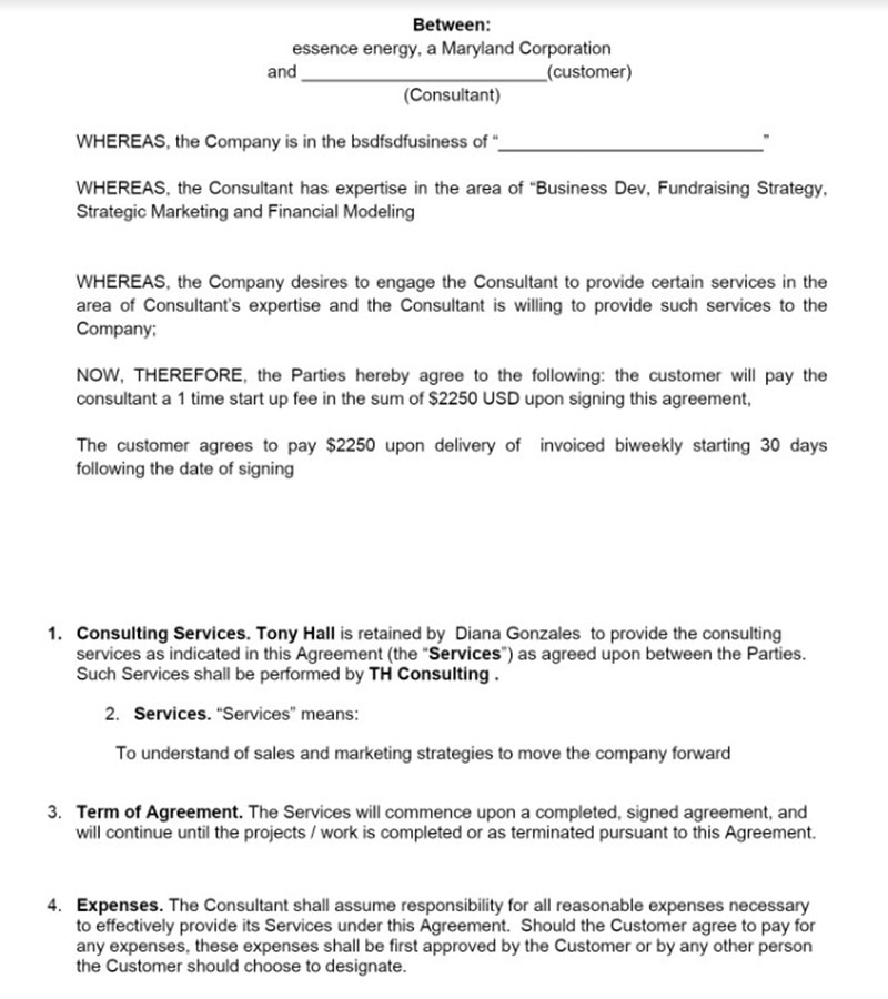 Consulting Contract Examples To Use For Your Business