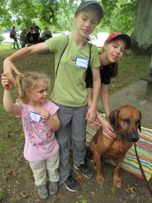 Kids and Dog. By Cecily Franklin