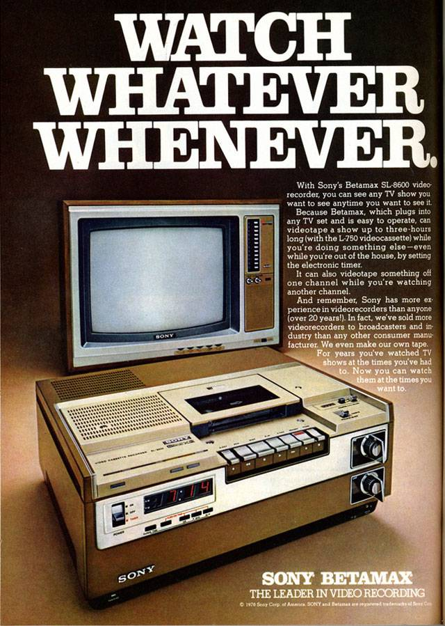 Thanks to Nesster for the Sony Betamax 1978 image, licensed under a Creative Commons 2.0 Generic licence. Hope Sony doesn't mind!