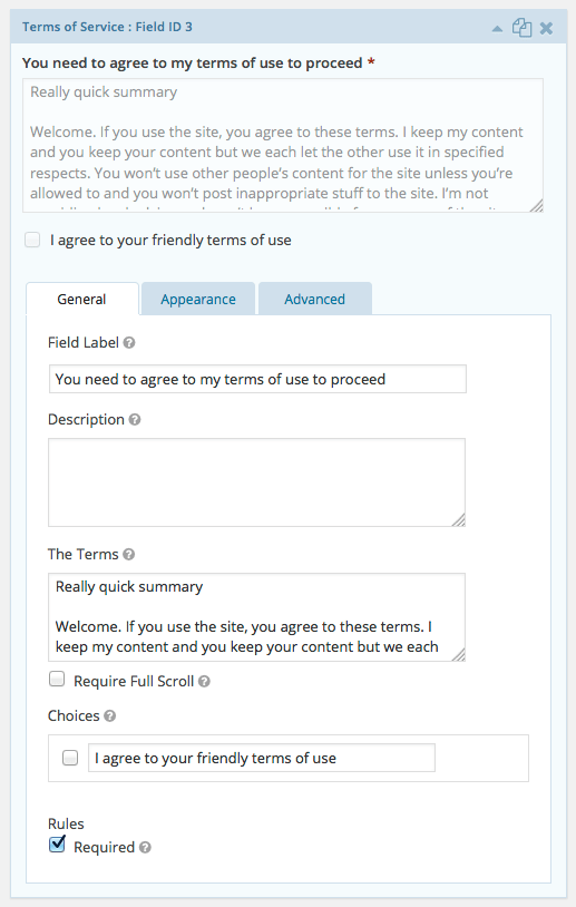 Terms of Service field - General tab
