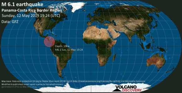 Strong mag. 6.0 earthquake  - Panama-Costa Rica Border Region on Sunday, 12 May 2019