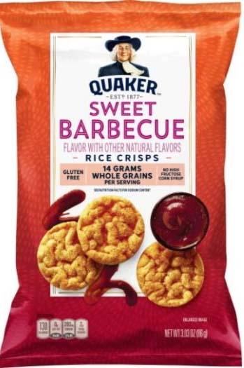 Photo Package Front:  QUAKER SWEET BARBECUE RICE CRISPS